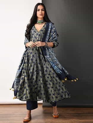 Indigo Ajrakh-printed Silk Cotton Kalidar Kurta