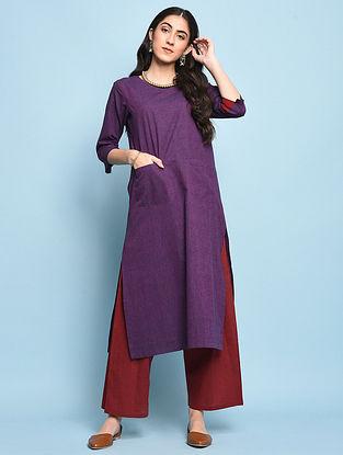 Purple Mangalgiri Cotton Kurta with Pockets
