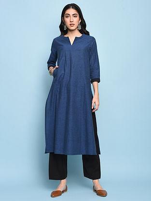 Blue Mangalgiri Cotton Kurta with Pockets