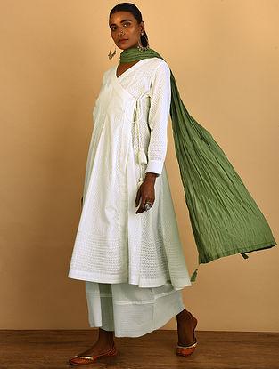 White Cotton Dobby Angrakha with Tassels