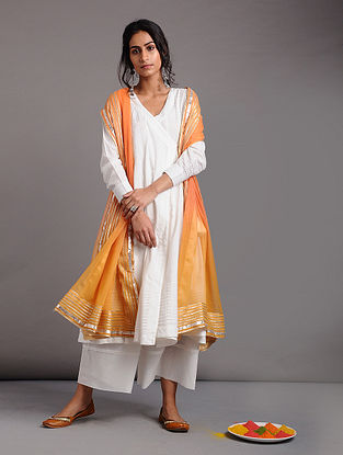 White Cotton Dobby Angrakha with Tassels