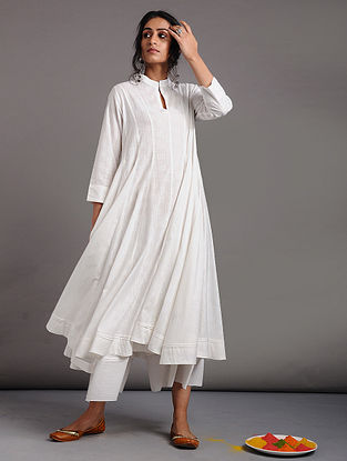 White Cotton Dobby Kalidar Kurta