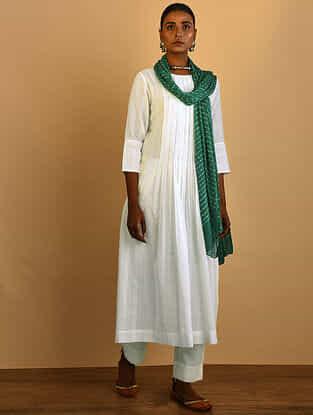 White Cotton Dobby Kurta with Pleats