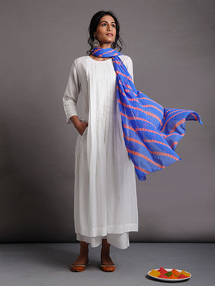 White Cotton Dobby Kurta with Pleats
