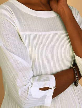 White Cotton Dobby Kurta with Pintucks