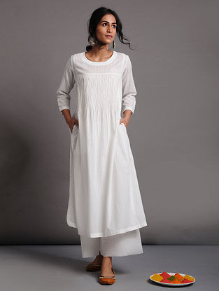 White Cotton Dobby Kurta with Pintucks
