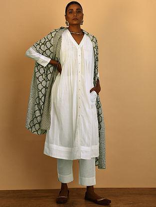 White Button-down Cotton Dobby Kurta with Pleats