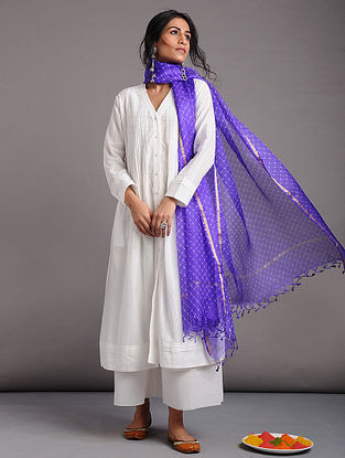 White Button-down Cotton Dobby Kurta with Pleats