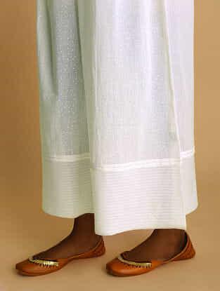 GULBAHAR - White Elasticated-waist Khari-printed Cotton Mul Palazzo with Raw Edge Hem