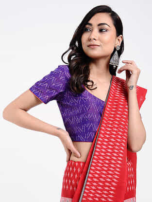 Purple Handloom Silk-Cotton Ikat Blouse