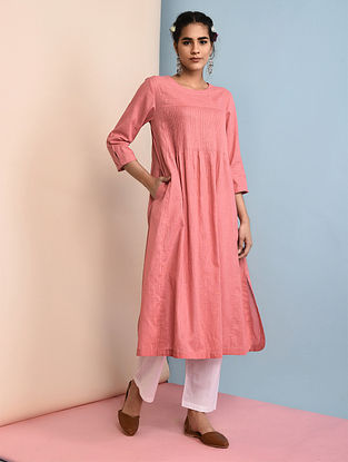 PEACH CREAM - Pink Slub Cotton Kurta with Pintucks