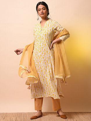 PADMINI - Ivory-Yellow Khari Block-printed Cotton Mul Kurta
