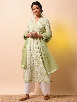 SAMYUKTA - Ivory-Green Khari Block-printed Cotton Mul Kurta