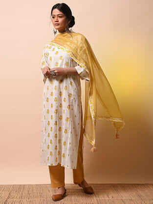 GAYATRI DEVI - Ivory-Yellow Khari Block-printed Cotton Mul Kurta