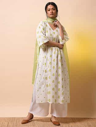 MIRA BAI - Ivory-Green Khari Block-printed Cotton Mul Kurta