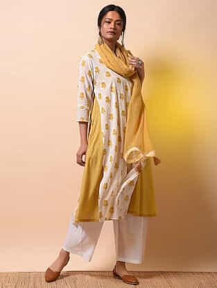 SITA DEVI - Ivory-Yellow Khari Block-printed Cotton Mul Layered Kurta
