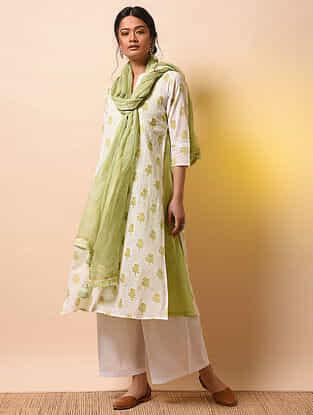 VIJAYA DEVI - Ivory-Green Khari Block-printed Cotton Mul Layered Kurta
