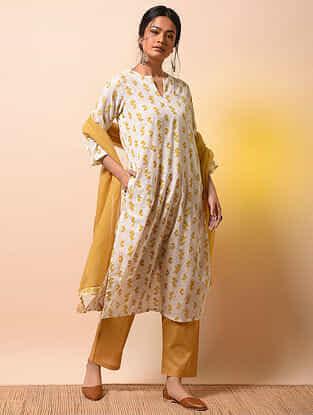 KARNAVATI - Ivory-Yellow Khari Block-printed Cotton Mul Kurta