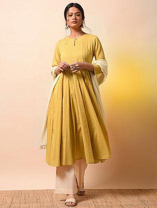 KRISHNA KUMARI - Yellow Cotton Mul Kalidar Kurta