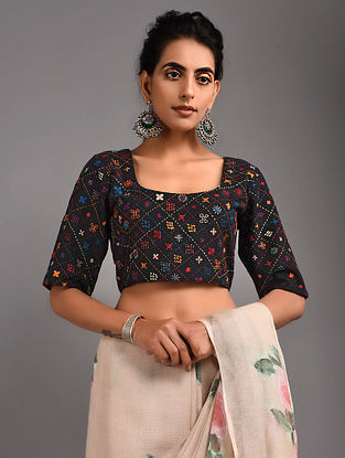 Black Hand-embroidered Handloom Cotton Blouse