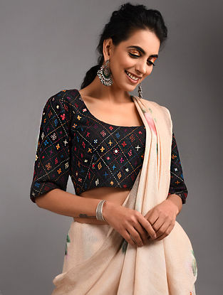 Black Hand-embroidered Handloom Cotton Blouse with Tassels