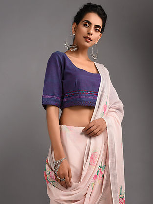 Purple Hand-embroidered Handloom Cotton Blouse with Tassels