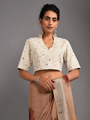 c5d5dbb357a54 Ivory Hand-embroidered Handloom Cotton Blouse