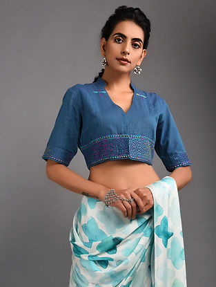 Blue Hand-embroidered Handloom Cotton Blouse