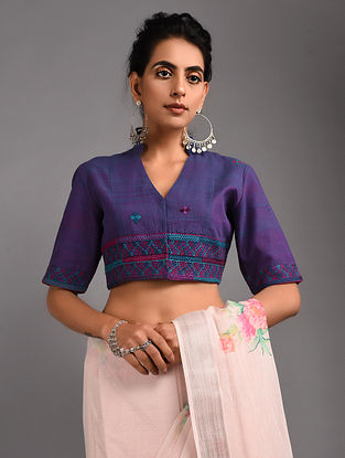 Purple Hand-embroidered Handloom Cotton Blouse