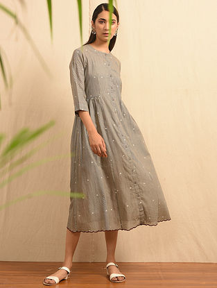 MISHTI DOI - Grey Handloom Cotton Jamdani Dress with Scallops