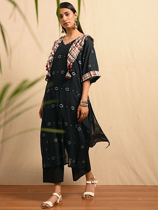 NOLEN GURER - Black Handloom Cotton Jamdani Kurta
