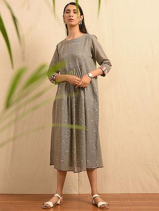 CHANAR JALAPI - Grey Handloom Cotton Jamdani Dress with Scallops