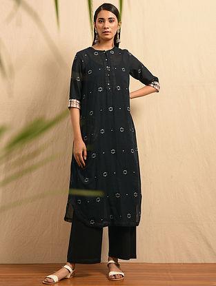 KALO JAAM - Black Handloom Cotton Jamdani Kurta with Gathers