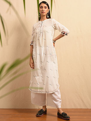 DARBESH - White Handloom Cotton Jamdani Kurta with Gathers
