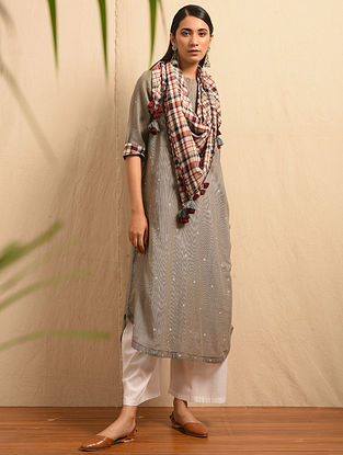 PAYESH - Grey Handloom Cotton Jamdani Kurta with Gathers