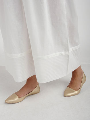White Elasticated-waist Cotton Mul Palazzo with Raw Edge Hem