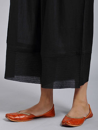 Black Elasticated-waist Cotton Mul Palazzo with Raw Edge Hem