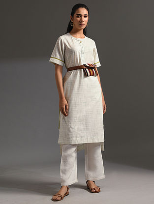 PALASH - White-Yellow Handloom Bengal Cotton Kurta with Handwork