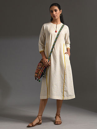 BOUGAINVILLEA - White-Yellow Handloom Bengal Cotton Dress with Handwork