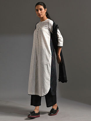 SEMAL - White-Black Handloom Bengal Cotton Kurta with Handwork