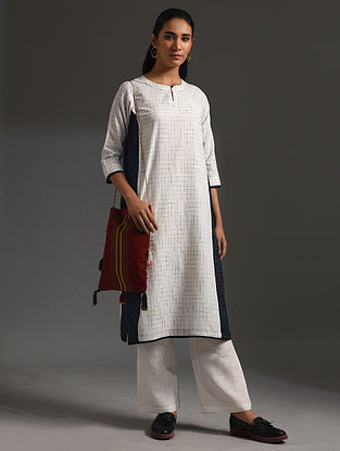 SONMOHAR - White-Black Handloom Bengal Cotton Kurta with Handwork