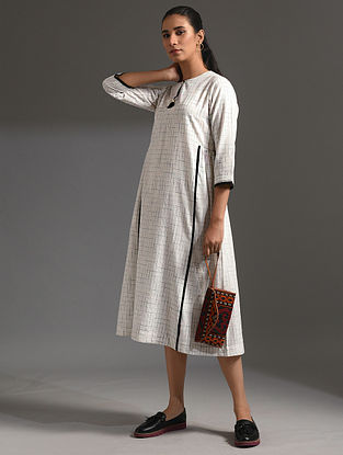 KAIR - White-Black Handloom Bengal Cotton Dress with Handwork