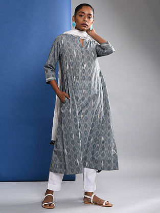 JIGNA - Grey Handloom Ikat Cotton Kurta with Embroidery
