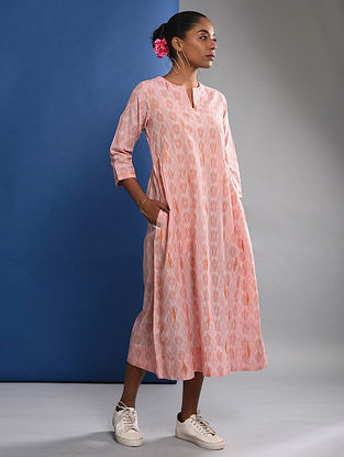 URVI - Pink Handloom Ikat Cotton Dress with Embroidery