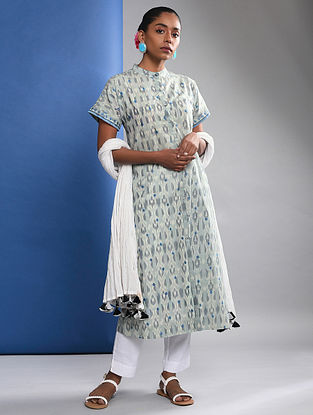 ODOTI - Grey Handloom Ikat Cotton Kurta with Embroidery