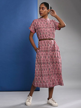 NIYASA - Pink Handloom Ikat Cotton Dress with Embroidery