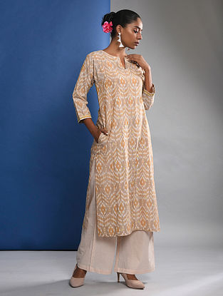 JAIMINI - Beige Handloom Ikat Cotton Kurta with Embroidery