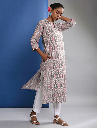 PRAKHYA - Grey-Pink Handloom Ikat Cotton Kurta with Embroidery