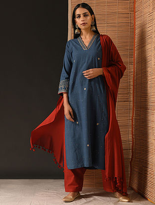 AISHA - Indigo Natural-dyed Handloom Cotton Kurta with Hand Embroidery