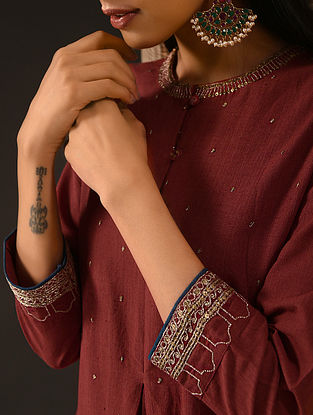 SAAFIA - Maroon Natural-dyed Handloom Cotton Kurta with Hand Embroidery